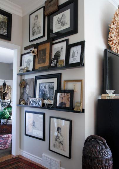 как развесить картины на стене красиво