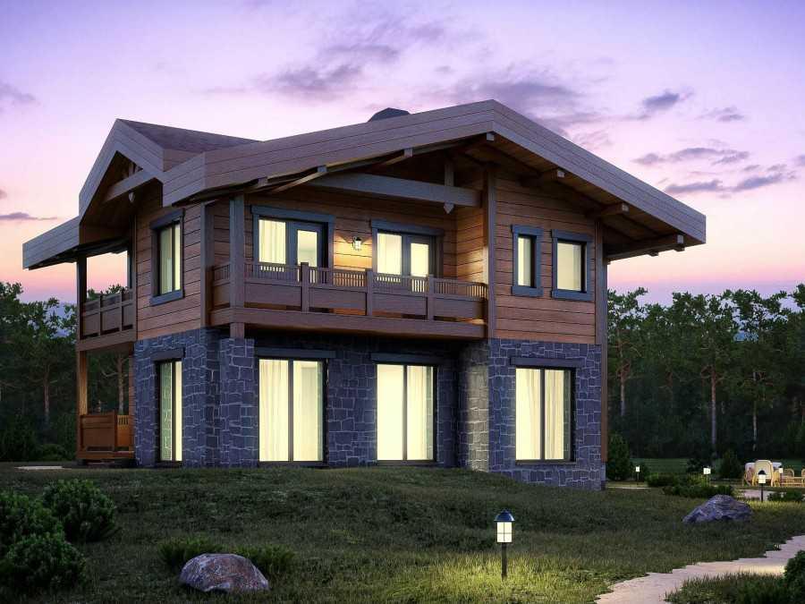 Проект одноэтажного дома в стиле шале из дерева