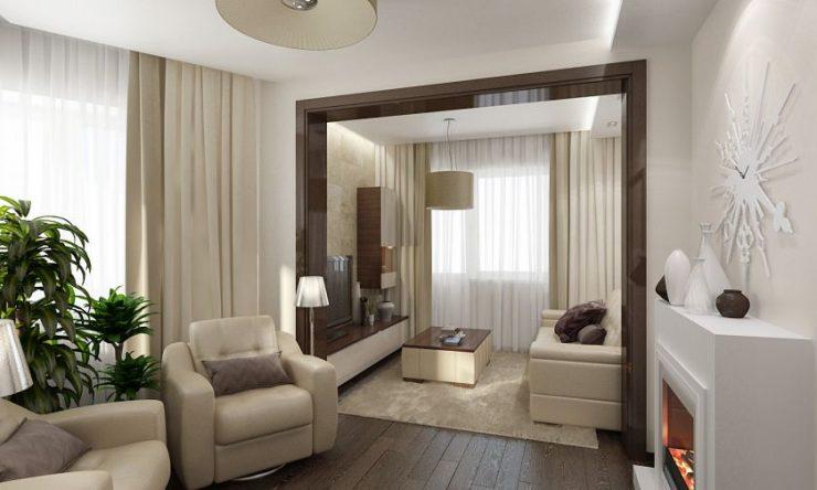 дизайн зала в доме с двумя окнами