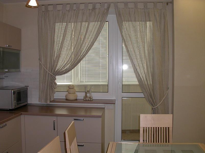 дизайн штор на кухню короткие