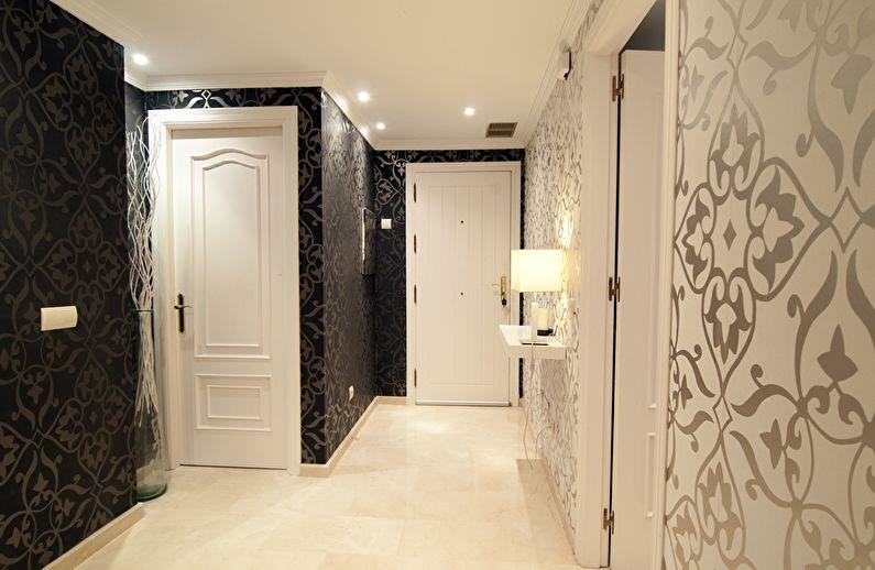 Обои в коридор (96 фото): модные идеи-2020  дизайна прихожей в квартире в темных и цветных тонах, какие выбрать цвета в «хрущевку»
