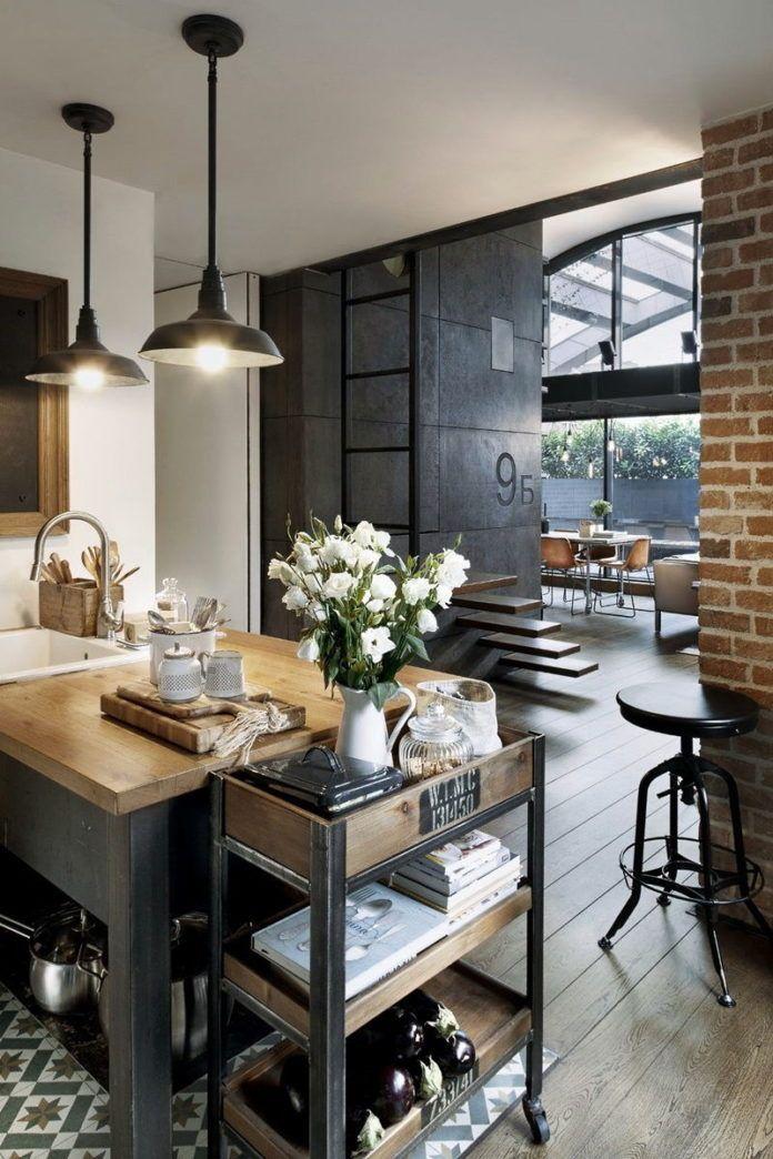 кухня в стиле лофт белая