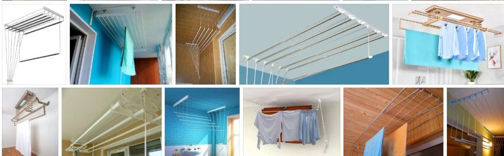 Просто и практично: потолочная сушилка для белья на балкон