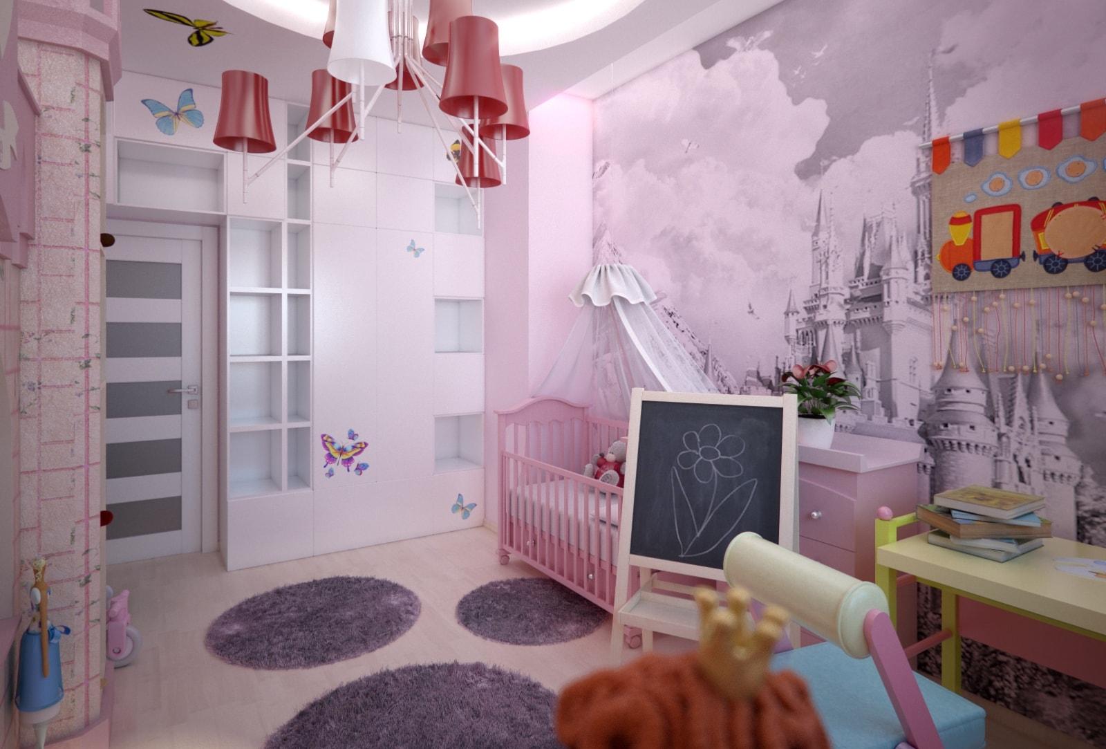 Обои для детской комнаты для девочек: фото, цветовая гамма, комбинирование