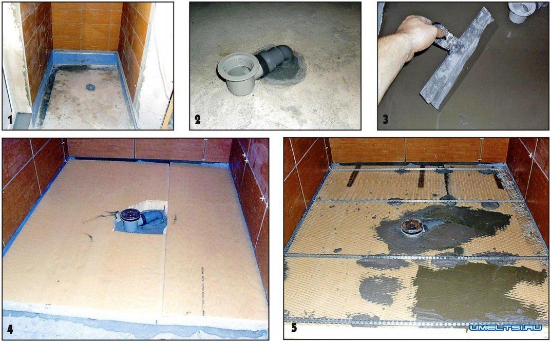 Поддон из плитки для душевой кабины: подробная инструкция по возведению