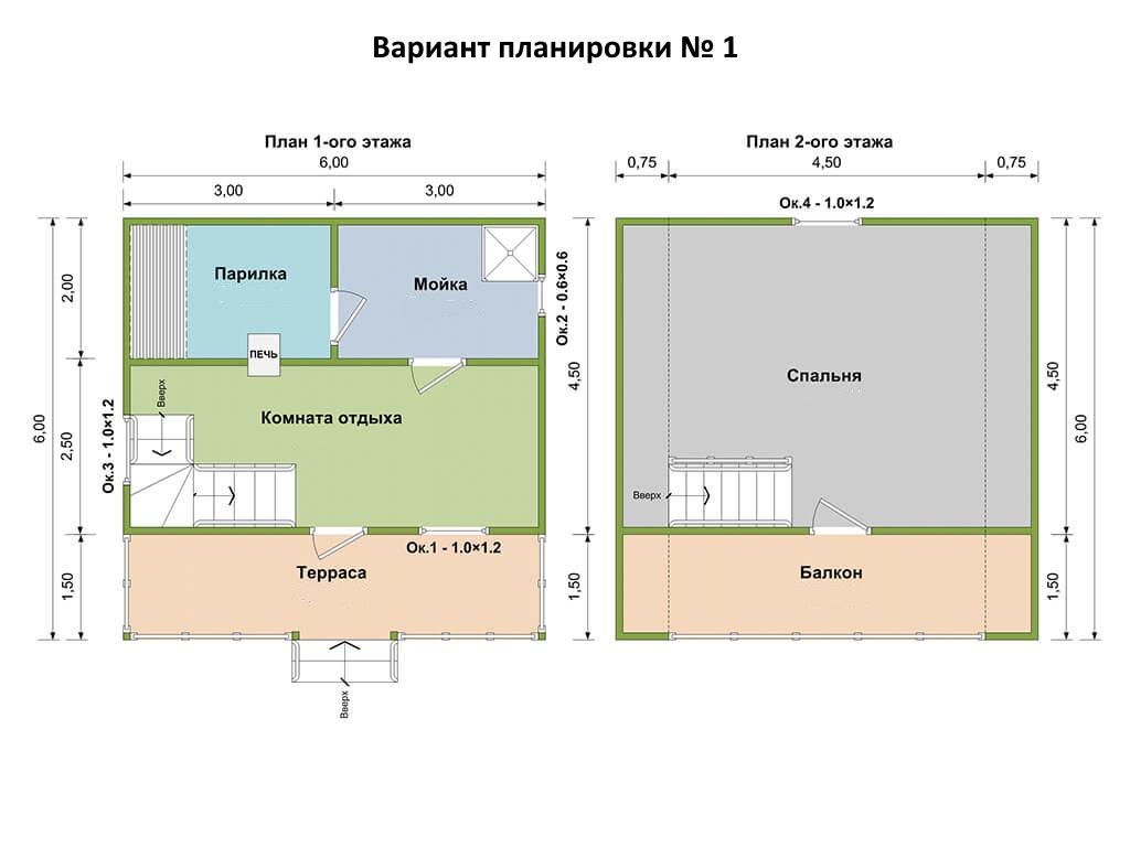 Проекты каркасных бань разной площади и чертежи для строительства своими руками