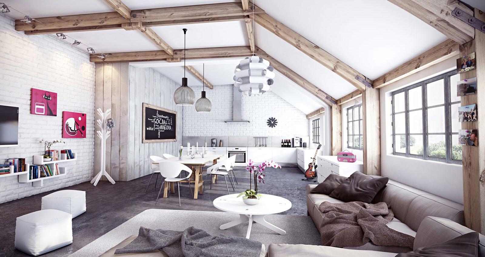 Дизайн в стиле лофт: 170+ (фото) гостиной/кухни/спальни/прихожей