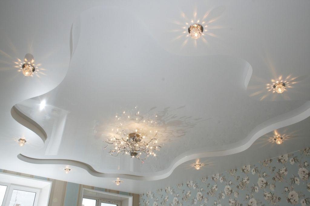 натяжные потолки фото для зала двухуровневые