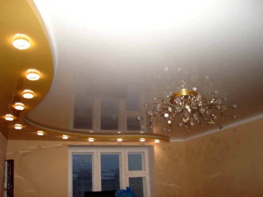 натяжной потолок 2 уровня с подсветкой