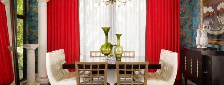 Красные шторы: 40+ эффектных воплощений - арт интерьер