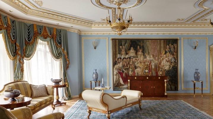 Стиль ампир в интерьере гостиной, кухни или спальни, современный дизайн и оформление