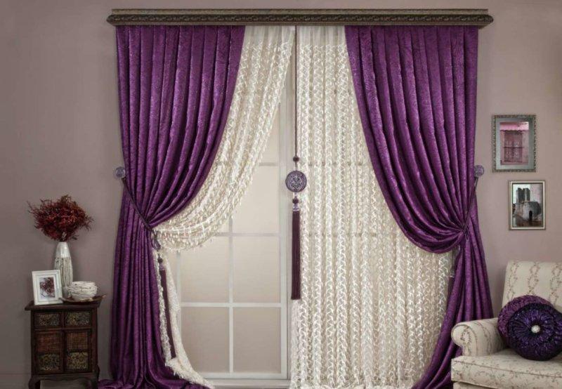 Сиреневые шторы и сочетание с ними в 40+ фотографиях - арт интерьер