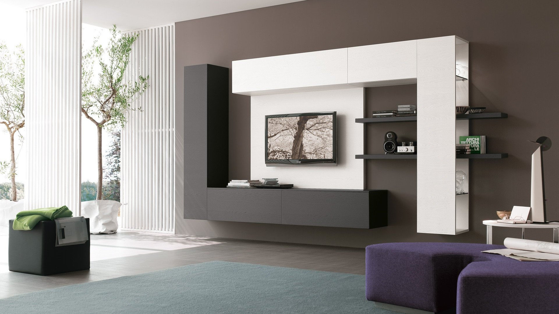 Современные модульные стенки в гостиную (51 фото): глянцевые и угловые мини-горки, новинки 2020 для зала, современные варианты в интерьере