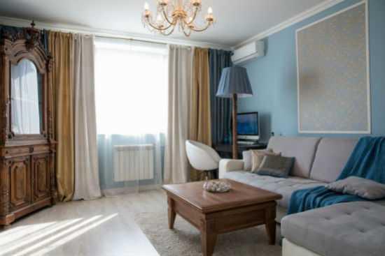 Интерьер гостиной в голубых тонах +75 фото вариантов оформления