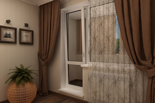 дизайн штор для кухни с балконной