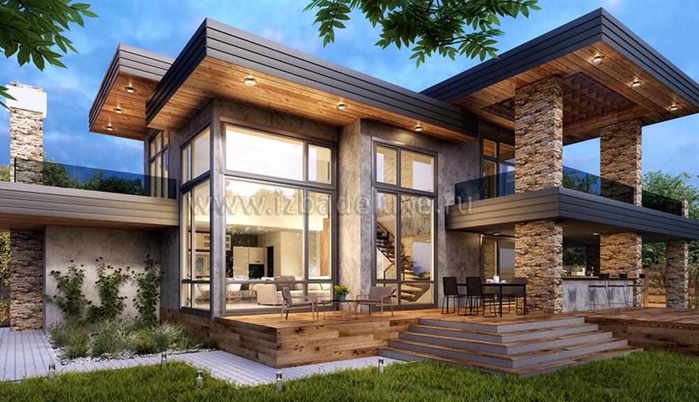 дома из клееного бруса с панорамными окнами