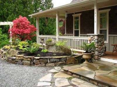 ландшафтный дизайн двора частного дома фото