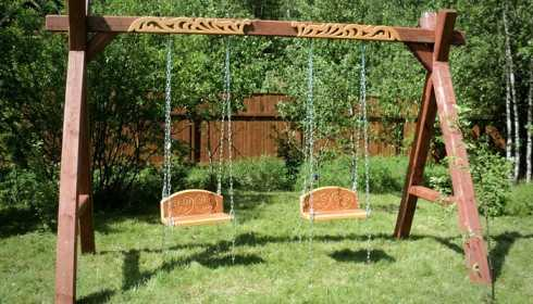 Как сделать своими руками садовые качели: фото моделей, чертежи и пошаговое руководство