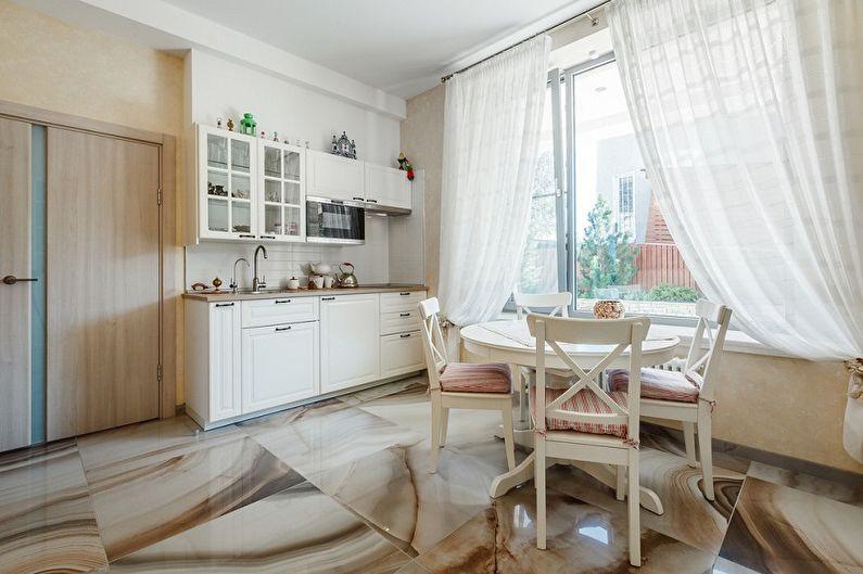какие шторы подойдут к серой кухне