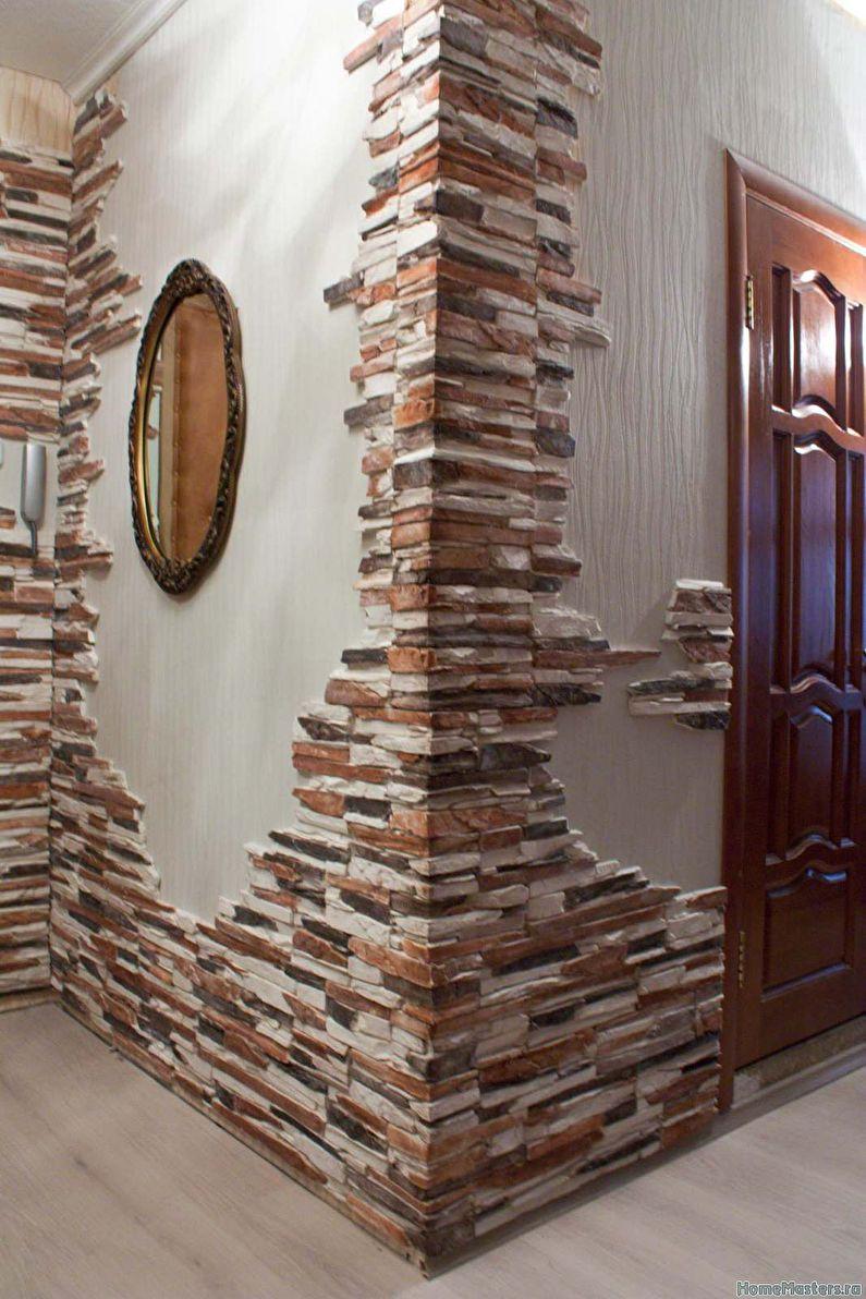 Декоративный камень в интерьере кухни: фото лучших примеров