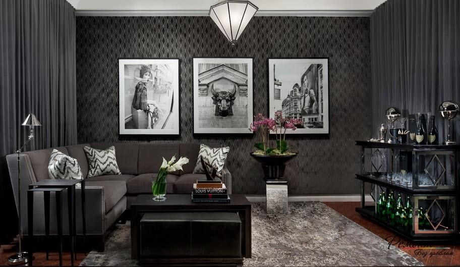 Черные обои в интерьере +75 современных фото идей