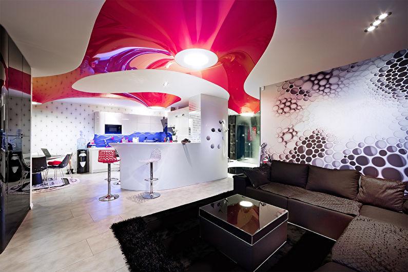 Натяжные потолки с фотопечатью: фото для зала, спальни, кухни, прихожей