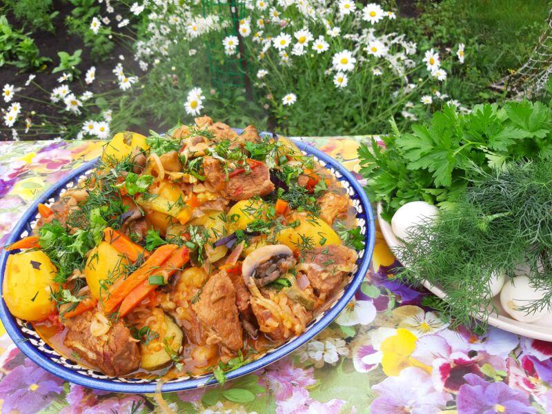 блюда в казане на мангале