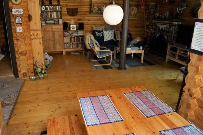 Интерьер в бревенчатом доме: фото