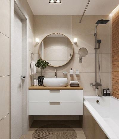 крупная плитка в маленькой ванной