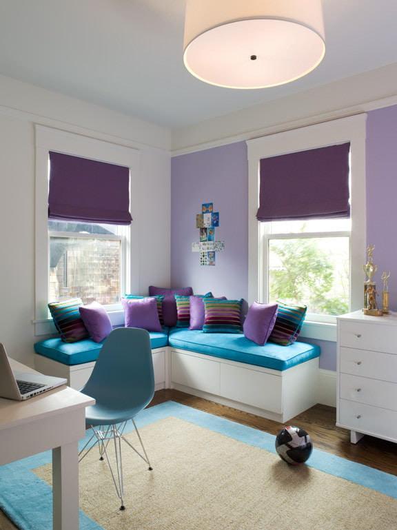 Дизайн интерьера спальни в сиреневых тонах