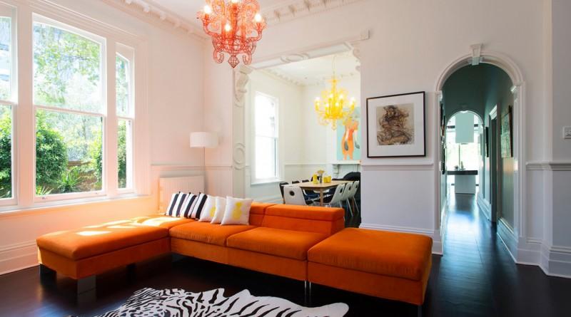 Оранжевая гостиная - 121 фото пример