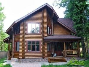 Дома из оцилиндрованного бревна (80+ фото)
