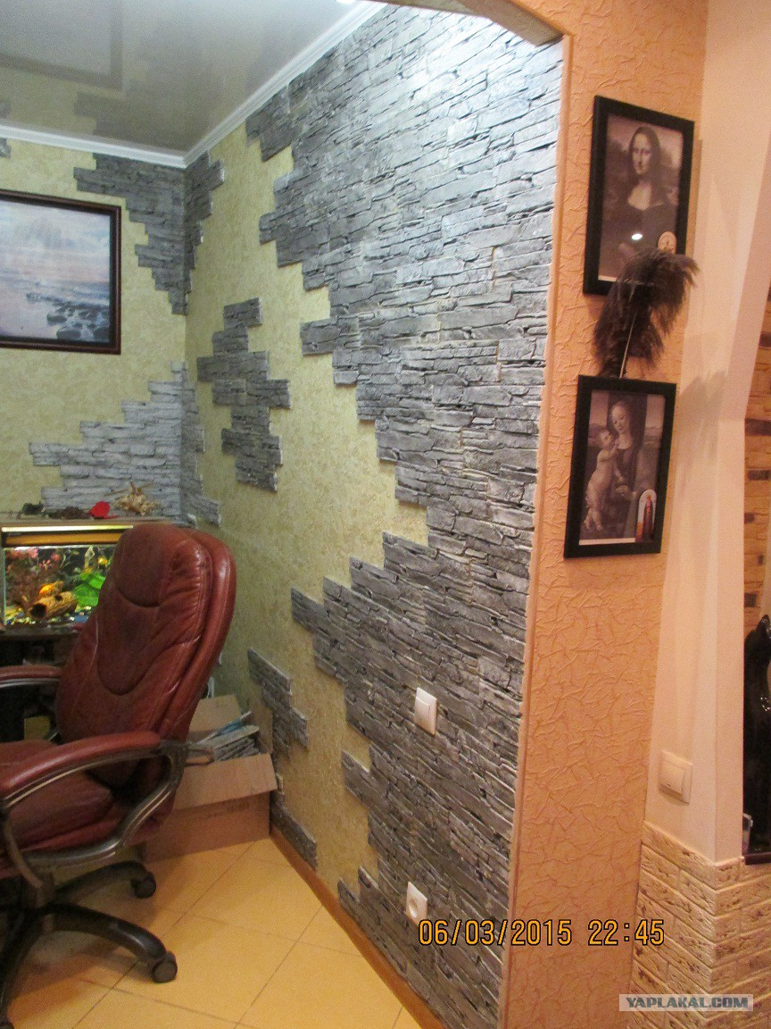 Искусственный камень в отделке фартука на кухне: фото и декоративная плитка