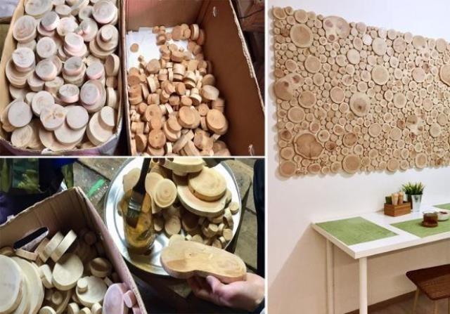 Варианты обустройства стены из спилов дерева внутри помещения
