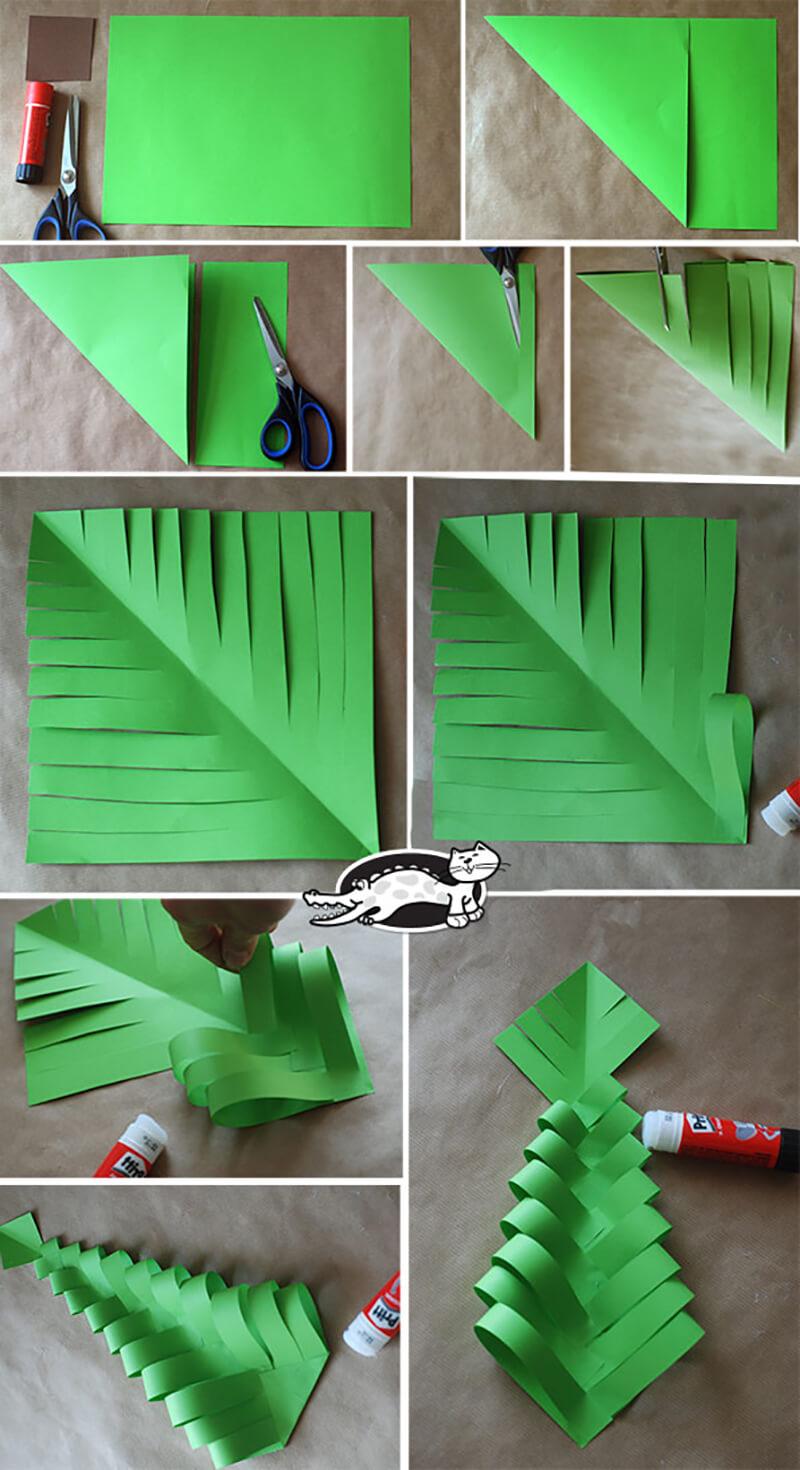 Объемная елка из бумаги - схемы и трафареты для создания елки своими руками