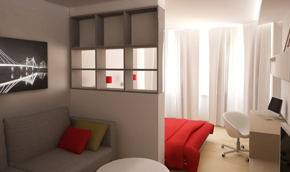 Интерьер кабинета в гостиной комнате