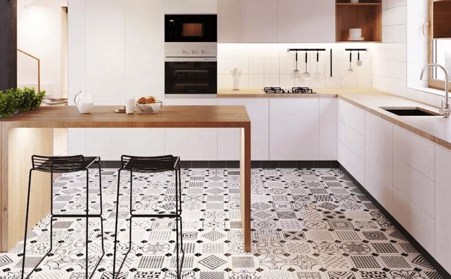 Линолеум с рисунком под плитку для кухни: как стелить на пол, плюсы и минусы