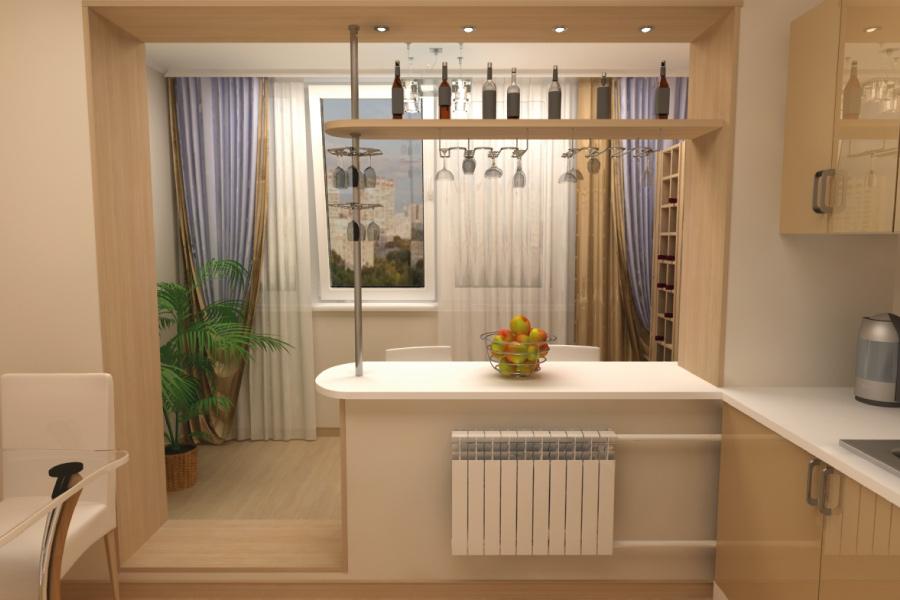 100 лучших идей: кухня совмещенная с балконом на фото