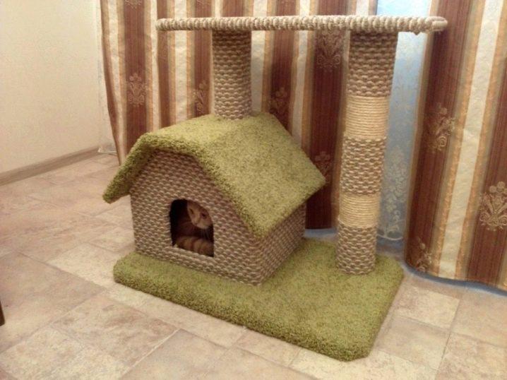 домик для кошки из дерева