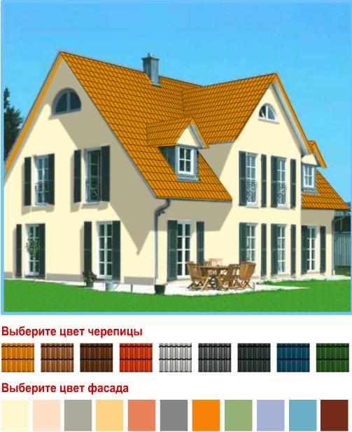 дома с коричневой крышей