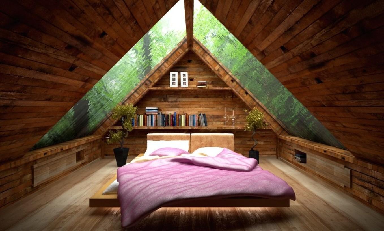 мансарда под двускатной крышей