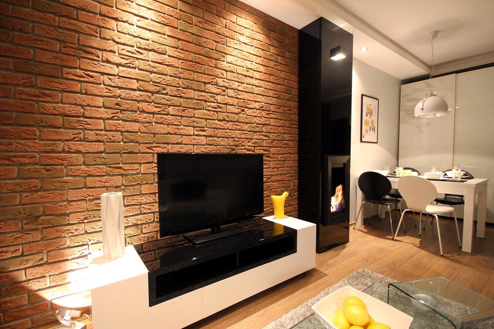 Кирпичная стена в интерьере - фото идеи дизайна