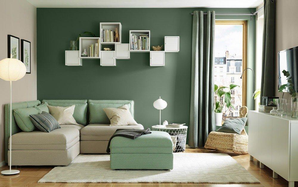 Диван: бежевый, фиолетовый, зеленый, коричневый – фото в интерьере