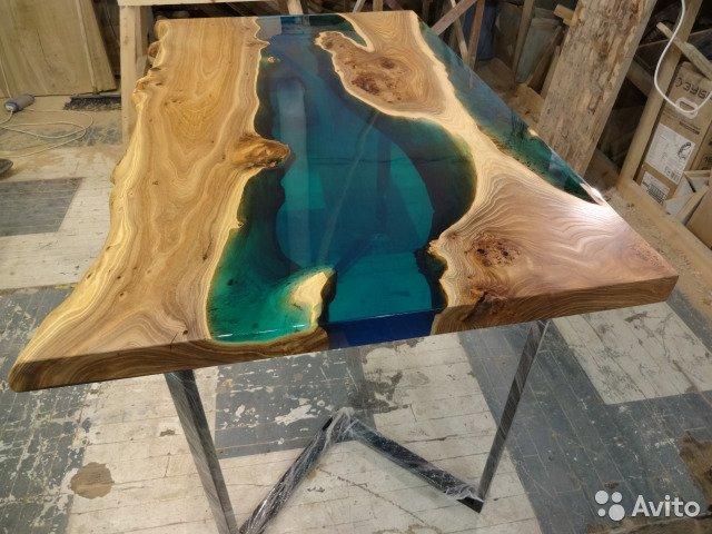 заливка стола эпоксидной смолой