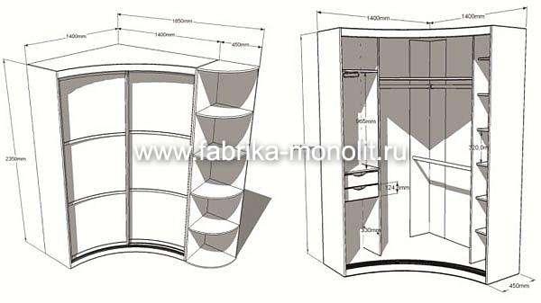 Радиусный шкаф-купе в прихожую (50 фото): полукруглые закругленные радиальные модели