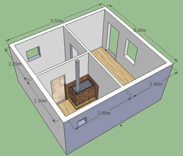 Каркасная баня 6*4 метра под ключ