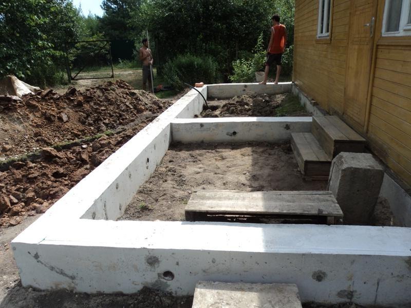 фундамент под террасу к дому