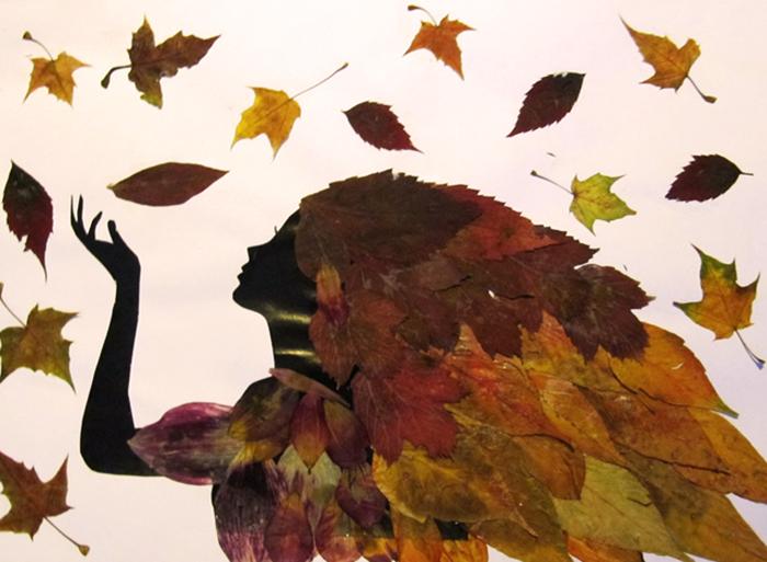 аппликация из листьев рябины