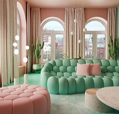 Интерьеры комнат с угловыми диванами: идеи ремонта