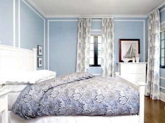голубые шторы в зал фото